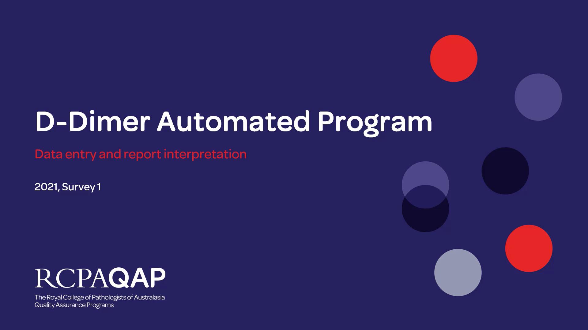D-Dimer – Automated: Unit Selection